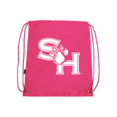 Nylon Pink Drawstring Backpack-SH Paw Official Logo