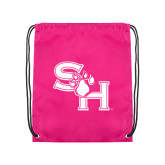 Pink Drawstring Backpack-SH Paw Official Logo