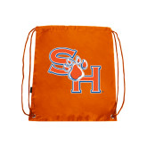 Nylon Orange Drawstring Backpack-SH Paw Official Logo