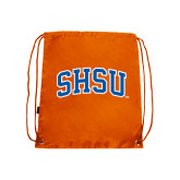 Nylon Orange Drawstring Backpack-Arched SHSU