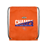 Nylon Orange Drawstring Backpack-Southland Conference Indoor Track and Field Champions