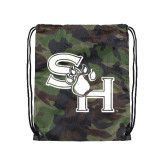 Nylon Camo Drawstring Backpack-SH Paw Official Logo