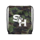 Camo Drawstring Backpack-SH Paw Official Logo
