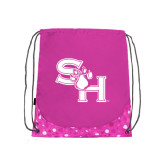 Nylon Pink Bubble Patterned Drawstring Backpack-SH Paw Official Logo