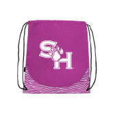 Nylon Zebra Pink/White Patterned Drawstring Backpack-SH Paw Official Logo