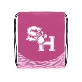 Nylon Zebra Pink/White Patterned Drawstring Backpack-SH Paw Official Logo