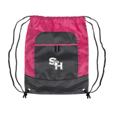 Nylon Pink Raspberry/Deep Smoke Pocket Drawstring Backpack-SH Paw Official Logo