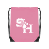 Light Pink Drawstring Backpack-SH Paw Official Logo