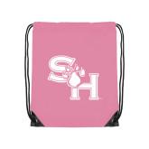 Light Pink Drawstring Backpack-SH Paw Official Logo