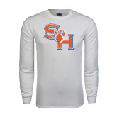 White Long Sleeve T Shirt-SH Paw Official Logo Distressed
