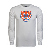 White Long Sleeve T Shirt-Bearkat Head
