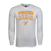 White Long Sleeve T Shirt-Proud to be a Bearkat