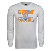 White Long Sleeve T Shirt-Grow the Growl - Baseball