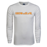 White Long Sleeve T Shirt-Grow the Growl Horizontal