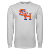 White Long Sleeve T Shirt-SH Paw Official Logo
