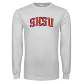 White Long Sleeve T Shirt-Arched SHSU