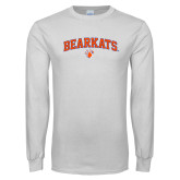 White Long Sleeve T Shirt-Arched Bearkats w/Paw