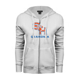 ENZA Ladies White Fleece Full Zip Hoodie-Grandma