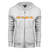ENZA Ladies White Fleece Full Zip Hoodie-Grow the Growl Horizontal
