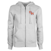 ENZA Ladies White Fleece Full Zip Hoodie-SH Paw Official Logo