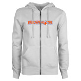ENZA Ladies White Fleece Full Zip Hoodie-Sam Houston Bearkats