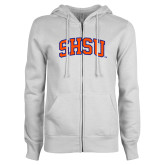 ENZA Ladies White Fleece Full Zip Hoodie-Arched SHSU