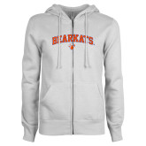 ENZA Ladies White Fleece Full Zip Hoodie-Arched Bearkats w/Paw