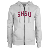 ENZA Ladies White Fleece Full Zip Hoodie-Arched SHSU Hot Pink Glitter
