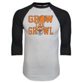 White/Black Raglan Baseball T-Shirt-Grow the Growl - Baseball