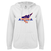 ENZA Ladies White V Notch Raw Edge Fleece Hoodie-Track and Field Side Design