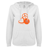 ENZA Ladies White V Notch Raw Edge Fleece Hoodie-Volleyball Design