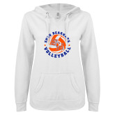 ENZA Ladies White V Notch Raw Edge Fleece Hoodie-Volleyball Stars Design