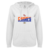 ENZA Ladies White V Notch Raw Edge Fleece Hoodie-2017 Southland Conference Mens Track and Field