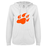 ENZA Ladies White V Notch Raw Edge Fleece Hoodie-Secondary Athletics Mark