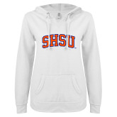 ENZA Ladies White V Notch Raw Edge Fleece Hoodie-Arched SHSU