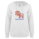 ENZA Ladies White V Notch Raw Edge Fleece Hoodie-Football