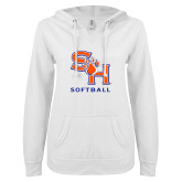 ENZA Ladies White V Notch Raw Edge Fleece Hoodie-Softball