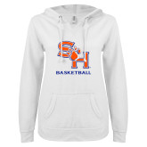 ENZA Ladies White V Notch Raw Edge Fleece Hoodie-Basketball
