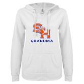 ENZA Ladies White V Notch Raw Edge Fleece Hoodie-Grandma