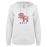 ENZA Ladies White V Notch Raw Edge Fleece Hoodie-Golf