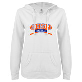 ENZA Ladies White V Notch Raw Edge Fleece Hoodie-Baseball Bats