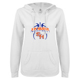 ENZA Ladies White V Notch Raw Edge Fleece Hoodie-Basketball in Ball