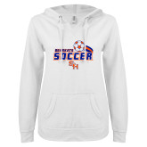 ENZA Ladies White V Notch Raw Edge Fleece Hoodie-Soccer Swoosh