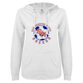 ENZA Ladies White V Notch Raw Edge Fleece Hoodie-Soccer Circle