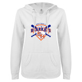 ENZA Ladies White V Notch Raw Edge Fleece Hoodie-Softball Design w/ Bats and Plate
