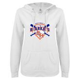 ENZA Ladies White V Notch Raw Edge Fleece Hoodie-Softball Design w/ Bats and Plate