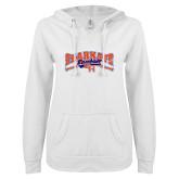 ENZA Ladies White V Notch Raw Edge Fleece Hoodie-Baseball Design