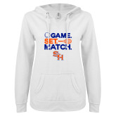 ENZA Ladies White V Notch Raw Edge Fleece Hoodie-Tennis Game Set Match