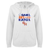 ENZA Ladies White V Notch Raw Edge Fleece Hoodie-Tennis Game Set Match