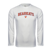 Syntrel Performance White Longsleeve Shirt-Arched Bearkats w/Paw